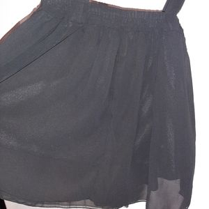 Skirts - Black skirt with attached suspender feature size S